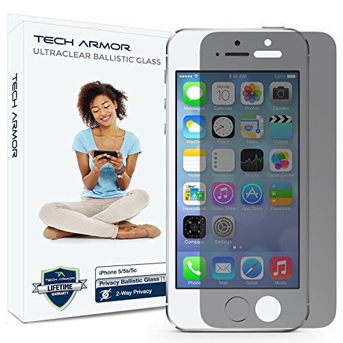 Tech Armor Privacy Ballistic Glass Screen Protector for Apple iPhone 5C / 5S / 5 / SE [1-Pack]