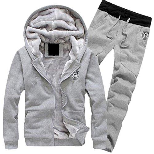 Papijam Men's Fleece Lined Hooded Jacket Thicken Strings Sweatsuit Set Grey (Fleece Sweat Jacket)