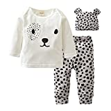 Baby Boys Girls Long Sleeve Leopard T-Shirt Top Clothes Pants Hat Outfits Set (White, 12-18 Months)