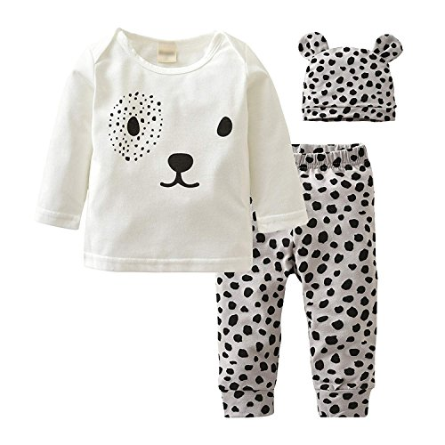 Baby Boys Girls Long Sleeve Leopard T-Shirt Top Clothes Pants Hat Outfits Set (White, 12-18 -