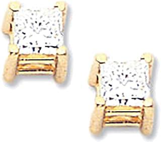 Lex & Lu oro giallo 14K AAA qualità complete principessa taglio diamante orecchino LAL15045
