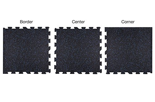 IncStores 8mm Strong Rubber Tiles (Black, 4 Border Tiles) Interlocking Rubber Gym Mats For Home Gym Flooring, Exercise Mats, Equipment Mats & Fitness Room Floors