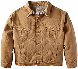 Carhartt Men\'s Big & Tall Sherpa Lined Sandstone Jean Jacket,Frontier Brown,XXXX-Large