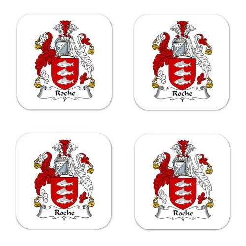 Roche Family Crest Square Coasters Coat of Arms Coasters - Set of 4