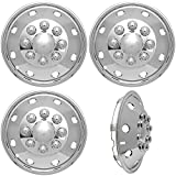 """4pc Full Set of 16"""" Wheel Simulators for 8 Lug 4 Hole for Dually Trucks, RV Trailer & Vans - Polished Stainless Steel , OEM Genuine Factory Replacement - Universal Fit Easy Snap On"""