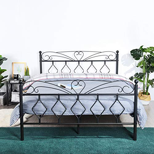 EGGREE Queen Size Metal Platform Bed Frame/Mattress Foundation with Vintage Style Headboard and Footboard, Non-Slip Steel Support Box Spring Replacement/Smart Bed Base for Bedroom, Matte Black ()
