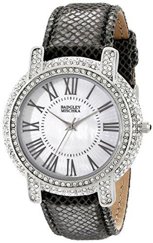 Badgley Mischka Women's BA/1355WMBK Swarovski Crystal Accented Silver-Tone and Black Leather Strap Watch