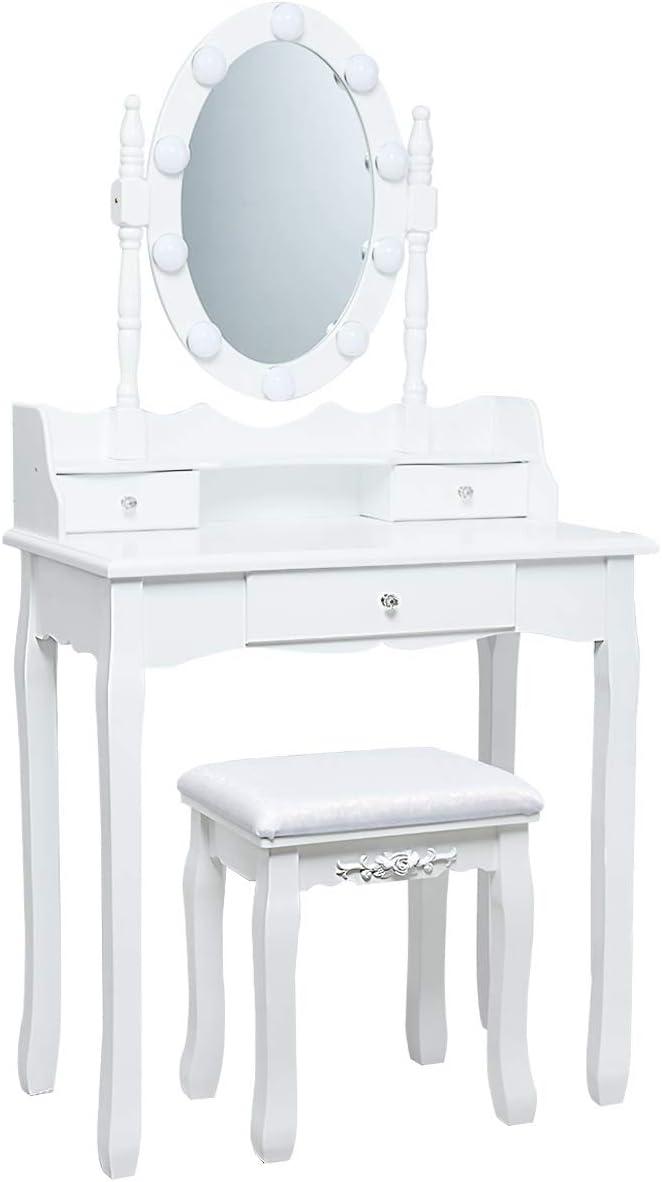 avec 3 Tiroirs de Rangements Blanc 10 Lumi/ères Miroir Ovale Pivotant /à 360/° Tabouret Rembourr/é Inclus Costway Coiffeuse avec Eclairage