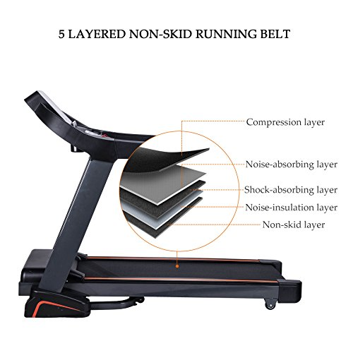 "Pinty UPGRADED 2.5HP Folding Treadmill Running Machine for Home Use, Large Weight Capacity 380 lb. , Extra Wide Belt 51.2""L x18.9""W, Integrated Cooling Fan"