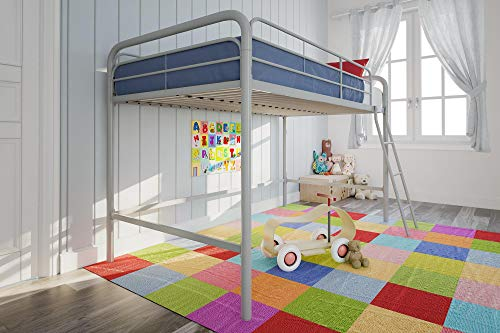 DHP Junior Loft Bed Frame With Ladder, Silver - Metal Frame Futon Bunk Bed