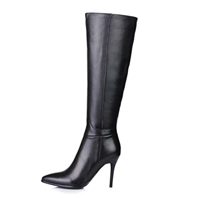 26a034e40c00c Nine Seven Genuine Leather Womens Tall Boots Stiletto High Heel Dress Knee  High Boot (4.5