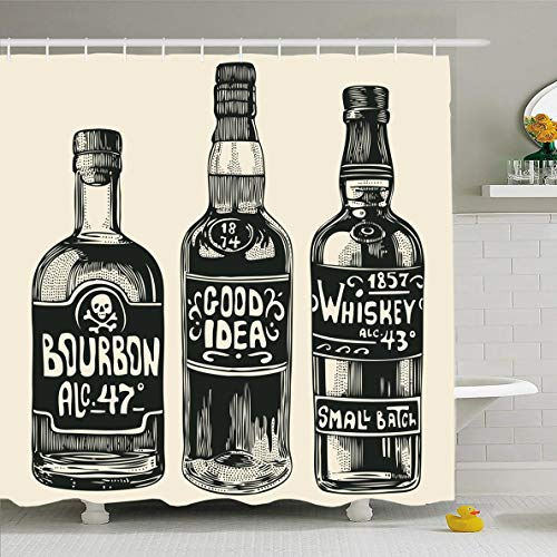 Ahawoso Shower Curtain 60 x 72 Inches Food Whiskey Three Bottles Strong Alcohol Liquor Drink Vintage Booze Bourbon Spirit Design Waterproof Polyester Fabric Bathroom Set with Hooks ()