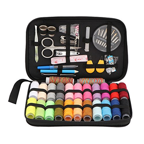 Sewing KIT 96 PCS Most Useful Colors of Threads Quality Pins and Needles Mini Travel Sewing Kit for Beginners Emerge Sewing kit for DIY, Beginners, Emergency, Kids, Summer Campers, Travel and Home. by BallBall