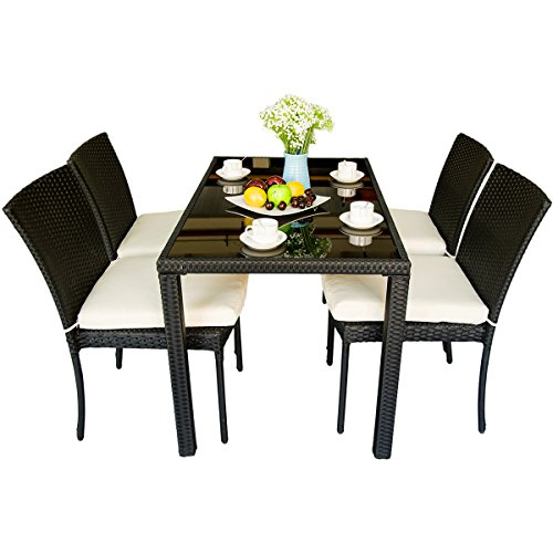 Merax 5 Piece Outdoor Wicker Dining Set Dining Table Set For 4 Patio Rattan Furniture Set With