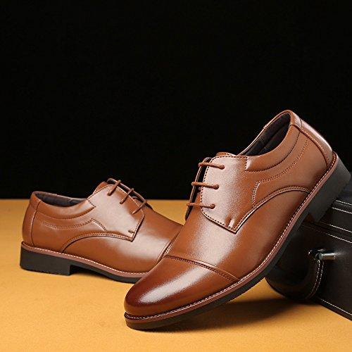 2018 Brown Hombre Encajes Hombre de para Negocios de EU Forrados Arriba Empalme Oxfords Formales Mate shoes Color Brown Zapatos 42 de Cuero Size PU Zapatos Fang Respirables Ftwq5YZ0
