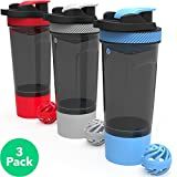 Vremi 3 Pack Protein Shaker Bottle Set - 24 oz Bottles with Whisk and Blender Ball - Leak Proof BPA Free Dishwasher Safe Sports and Travel Water Container with Powder and Pills Storage Compartment