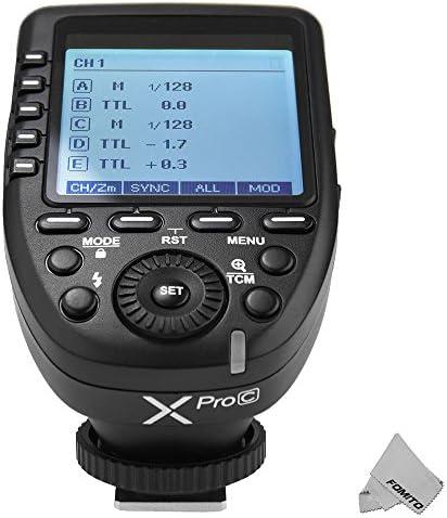 Godox Xpro-C TTL Kabelloser Blitzauslöser Bulit-in 2.4G X System 1 / 8000s HSS für Canon Kamera, TTL-Convert-Manuelle Funktion, Großbild-Schräg-Design