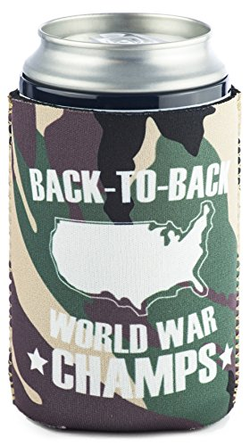 Funny Guy Mugs Back-To-Back World War Champs Collapsible Neoprene Can Coolie - Drink Cooler (Last Mission Insulated Jacket)