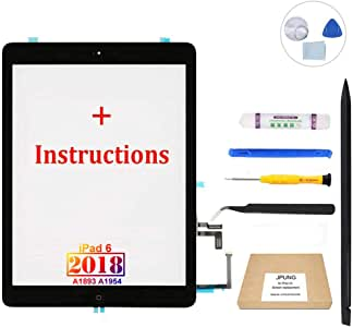 """JPUNG Screen Replacement for iPad 6th Gen 2018 9.7""""(Not air2), only for A1893 A1954, with Home Button, Complete Repair Tools Kit, Camera Holder, Pre-Installed Adhesive [365 Days Warranty]"""