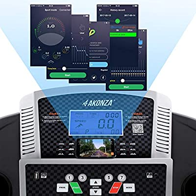 "AKONZA 2.5 Peak HP Treadmill Training Foldable Equipment 15.8"" Wide Belt 3 Manual Incline Timer LCD Display Fitness"