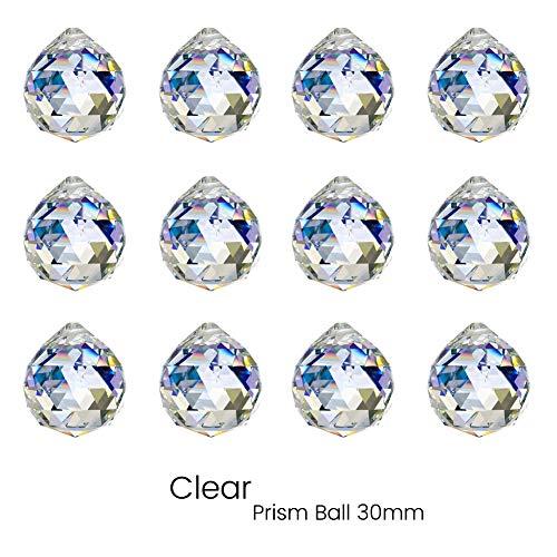 KARSLORA Clear Glass Crystal Ball Prism Rainbow Maker Feng Shui Lamp Hanging Drop Chandelier Pendants Window Suncatchers (30MM Pack of -