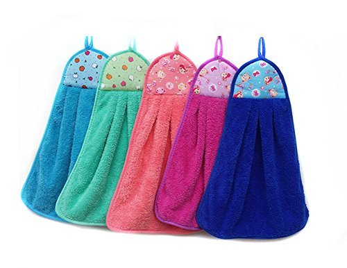 3Pcs Coral Fleece Microfiber Hanging Hand Towel Assorted Colors Quick Dry Thicken Cleaning Cloths Wipes Rags for Kitchen & Bathroom
