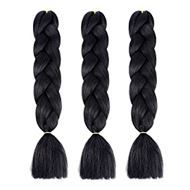 Bai You Mei Jumbo Braiding Hair Kanekalon Hair 3pcs/lot 24inch Synthetic Hair Extensions Crochet Braiding Hair(1#)