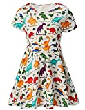 RAISEVERN Girls Summer Short Sleeve Dress Dinosaurs Printing Casual Dress Kids 8-9 Years