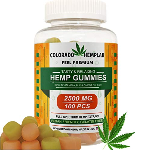 Premium Hemp Gummies by COLORADO HEMPLAB - 2500mg Hemp Extract, Zero THC CBD Cannabidiol - 100cts - Relief from Anxiety, Pain, Nausea, Stress, Inflammation & Depression - Made in The USA