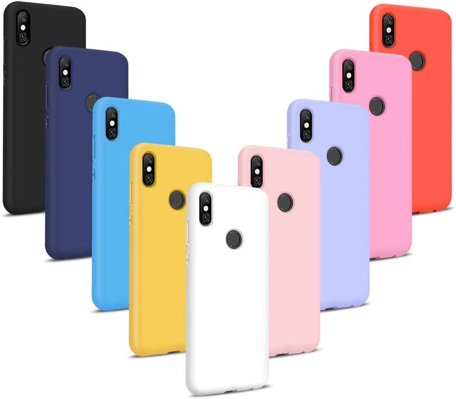 9X Fundas para Xiaomi Redmi Note 6 Pro, Carcasas Flexible Suave TPU Silicona Ultra Delgado Protección Caso(Rojo + Rosa Claro + Púrpura + Amarillo + Rosa Oscuro + Verde + Negro + Azul Oscuro)