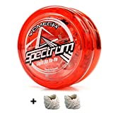 Yomega Spectrum - Light up Fireball Transaxle YoYo with LED Lights for Intermediate, Advanced and Pro Level String Trick Play + Extra 2 Strings & 3 Month Warranty (Red)