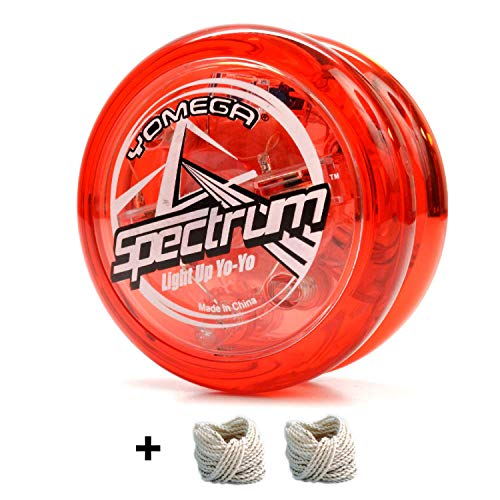 Yomega Spectrum – Light up Fireball Transaxle YoYo with LED Lights for Intermediate, Advanced and Pro Level String Trick Play + Extra 2 Strings & 3 Month Warranty (Red)