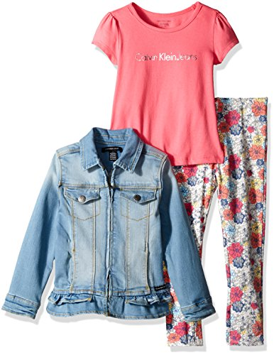Calvin Klein Little Girls' 3 Piece Jean Jacket, Shirt and Flower Pant, Blue, 6 (3 Piece Jacket)