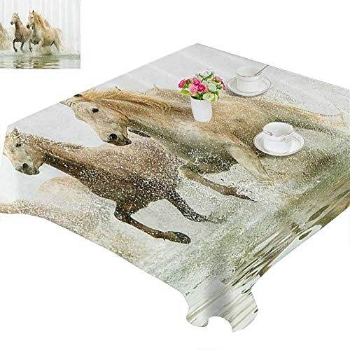 Zara Henry Animal Decor Dust-Proof Tablecloth Camargue Horses in The Water Ancient Oldest Breed in Southern France Origin Artful Photo Household Tablecloth W50 xL50 White Beige