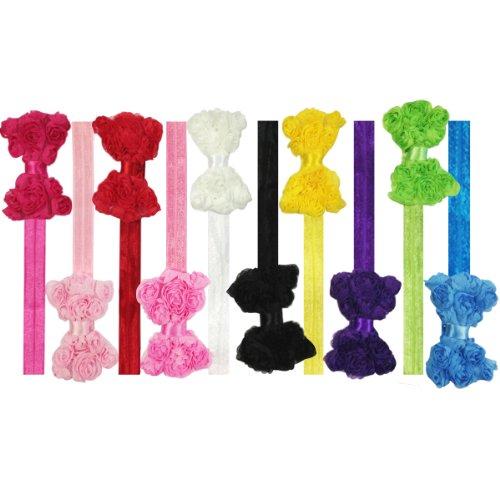 Kella Milla Set of 10 Assorted Chiffon Rosette Bow Baby Headbands