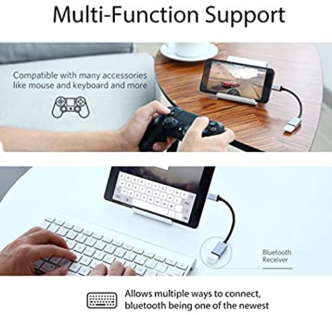 Use with Devices Like Keyboard Mouse Gray More Gamepad Zip hdmi Big PRO OTG Adapter Works with Zopo Speed 8 for OTG and USB Type-C Braided Cable