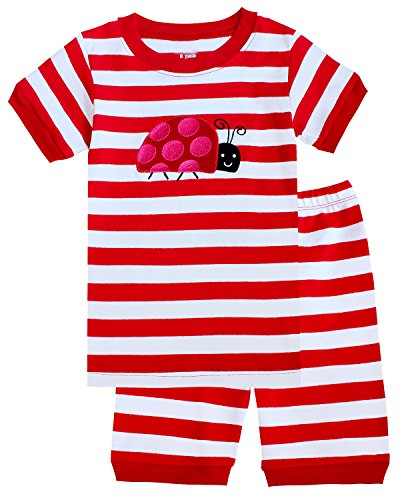 Girls Pyjama Set - IF Pajamas Ladybug Little Girls Shorts Set Striped Pajamas 100% Cotton Clothes Kid 7