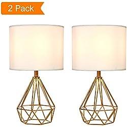 "SOTTAE Golden Hollowed Out Base Modern Lamp Bedroom Livingroom Beside Table Lamp, 16"" Desk Lamp With White Fabric Shade(Set of 2)"
