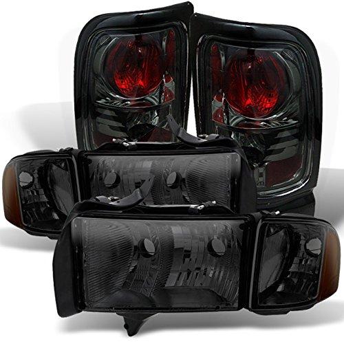 For Smoked Headlight Fot Dodge Ram 99-01 1500/2500/ 3500 Sport Pickup + Smoke Tail Brake Light Set