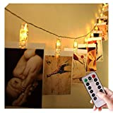 40LED Battery Operated Remote String Lights with Clips for Outdoor, Indoor, Photos, Paintings, Artwork, Pictures, Card, Memos (Brightness Adjustable, Timer, Warm White)