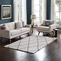 Modway R-1144C-58 Toryn Area Rug Diamond Lattice Shag, 5x8, Ivory and Gray