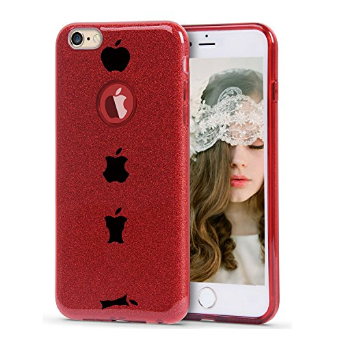 Plus Sparkle (iPhone 6plus 6S Plus Case Glitter Bling Protective Case Soft TPU Cover + Glitter Paper + PP Inner Layer (iPhone 6 Plus 6s Plus, Red))