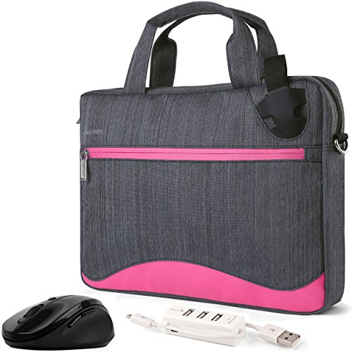 VanGoddy Wave Slim Magenta Anti Theft Messenger Bag w/Mouse & USB Hub for HP Pavilion/Envy / ZBook/Stream / Omen/Chromebook / ProBook/EliteBook / Spectre/Mobile Thin Client 14