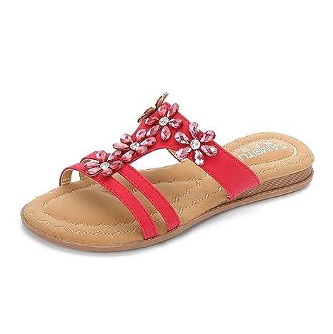 Yingsssq Zapatillas de Playa con Sandalias y Chanclas de Verano para Mujer Zapatillas con Punta Abierta