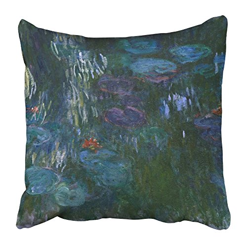 Emvency Decorative Throw Pillow Covers Cases Water Lilies Claude Monet 1916_19 French Impressionist Painting Oil on Canvas in His Last Decade 16x16 inches Pillowcases Case Cover Cushion Two Sided