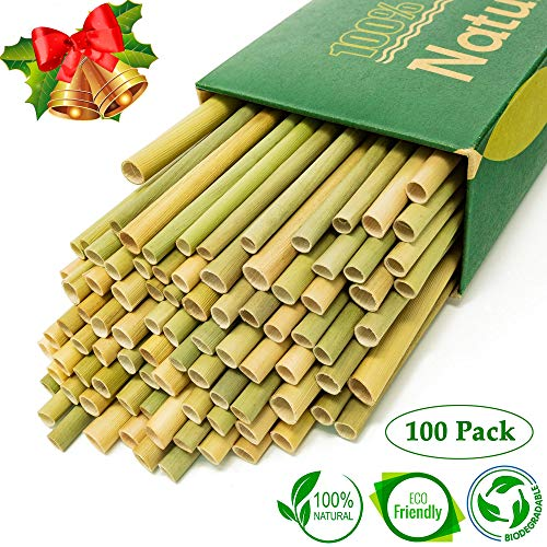 New 2019 Premium Grass Straws - 100% Eco Friendly Biodegradable Natural Stems - Sustainable Alternative to Reusable Bamboo Straws Reusable Metal Wheat Straws - Pack of 100