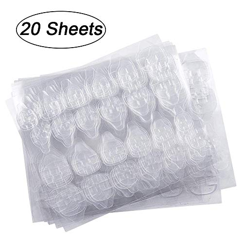 20 Sheets (480pcs) Double-side Nail Glue Sticker, Kalolary False Nail Glue Jelly Gel Tape Adhesive Tabs Nail Glue Transparent Flexible Adhesive Fake Nails Tips for Manicure