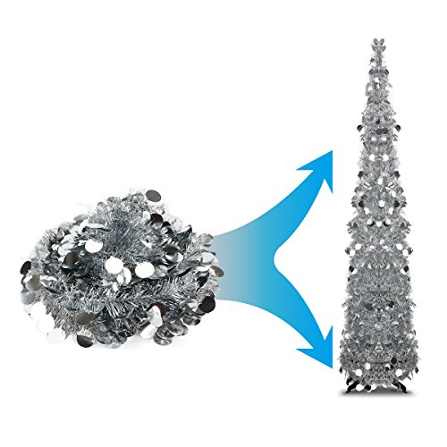 Joy-Leo 5 Foot Silver Decorative Artificial Tree for Home & Party & Wedding & Fireplace, Shiny Tinsel Christmas Tree with Reflective Sequins, Collapsible Tinsel Tree with Plastic Stand