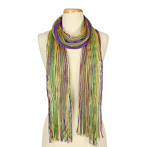 Mardi Gras Lulex Metallic Tassel Long Bufanda Scarf (Purple) - By Feria Mode