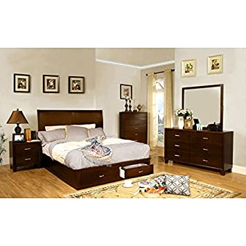 Brantley Contemporary Brown Cherry Full Size 6 Piece Bedroom Set